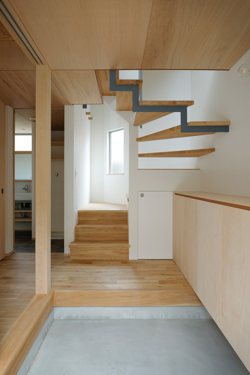 細長い玄関とスケルトン階段